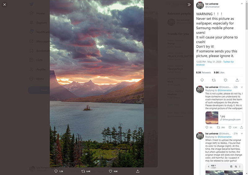 Twitter user @UniverseIce, with the original image in a separate Google Drive link on his feed. PSA: Do not download and set as wallpaper.