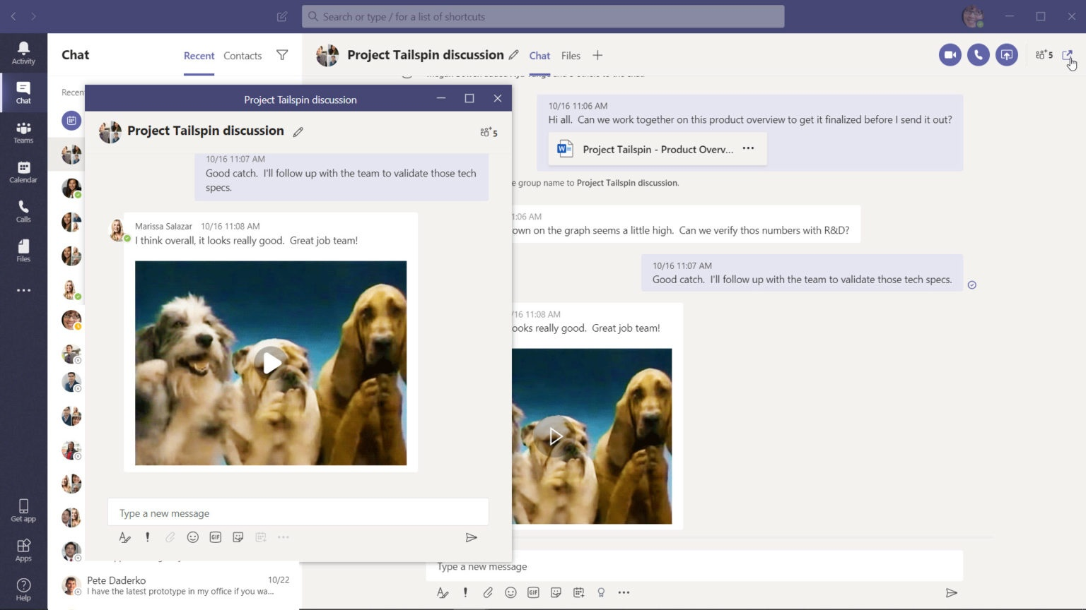 Pop-up chat in Microsoft Teams. <br>Image source: Microsoft