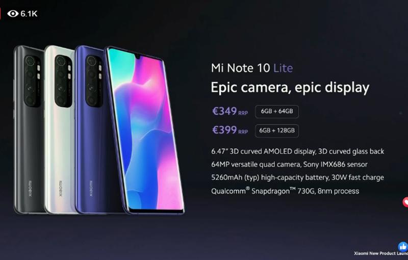 Xiaomi Mi Note 10 Lite.