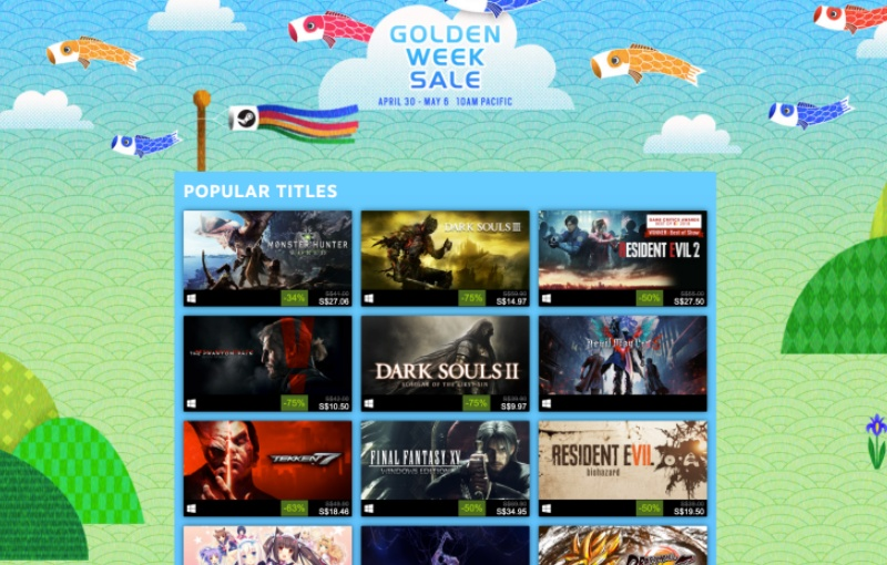 Some of the titles available during the Steam Golden Week sale