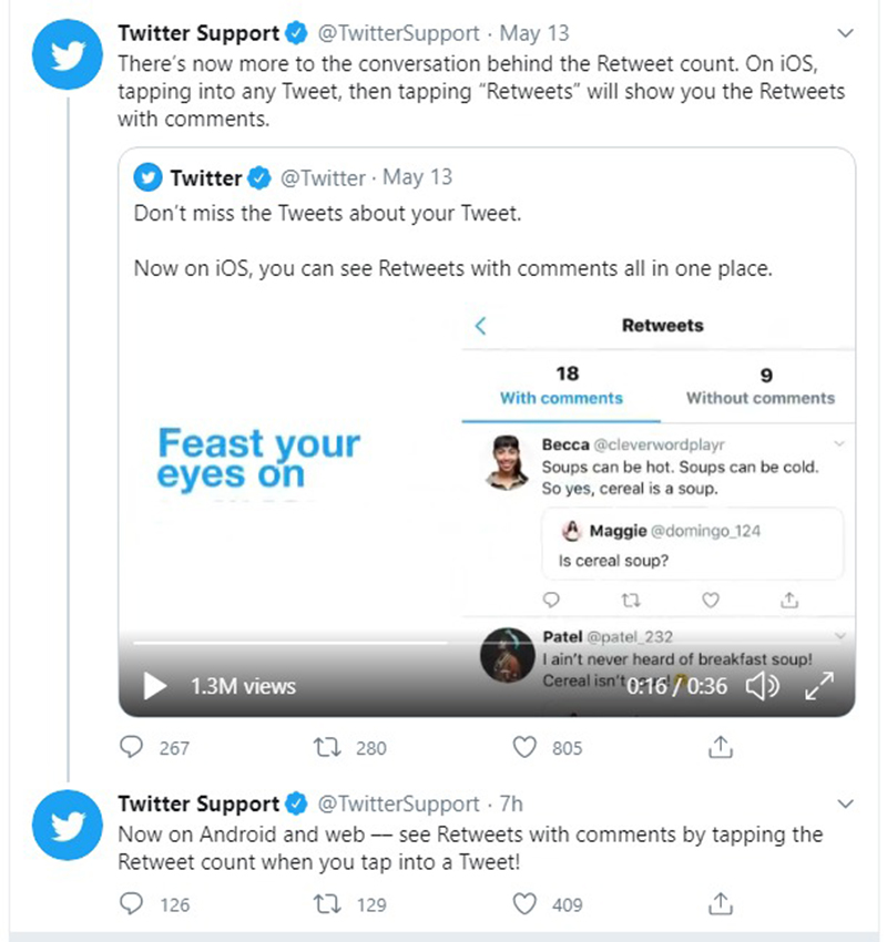 Retweets that have comments (top) can now be seen when you click on 'Retweets' for your particular post. Source: Twitter.