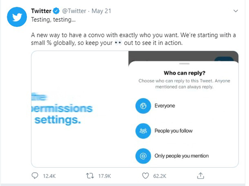 Twitter's new 'limit conversation' functionality is tested across selected users.