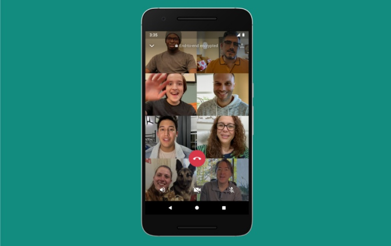 WhatsApp group call can soon support up to 8 people. <br>Image source: Facebook