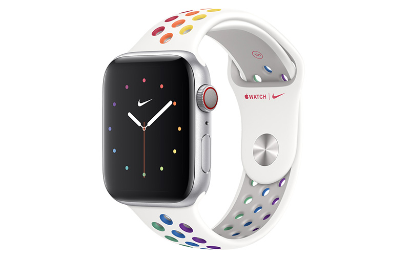 The Pride Edition Nike Sport Band has the rainbow colours in the holes. (Image: Apple.)