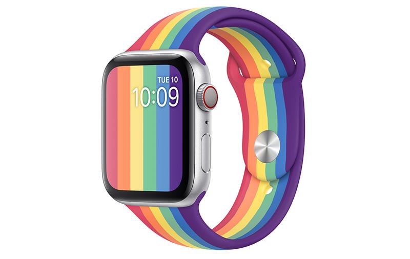 The new Apple Watch Pride Edition Sport Band sports a distinctive vertical-stripe rainbow design. (Image: Apple.)