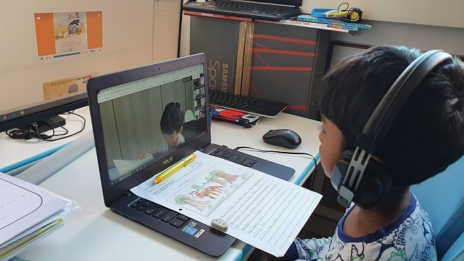 A class video meet where each student presents their composition and accompanying sketch. The step-by-step guidance to arrive at the outcome is very thorough - kudos to the teachers.