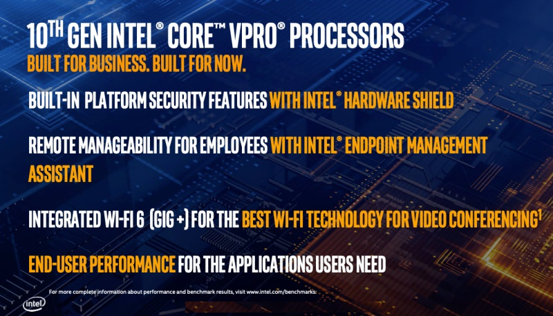 Some of the enhancements included in the Intel 10th gen Core vPro processors.