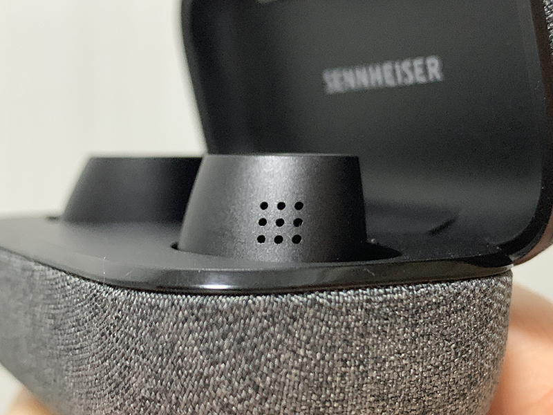 The mics that pick up ambient noise for processing lie within these holes, on each earbud.