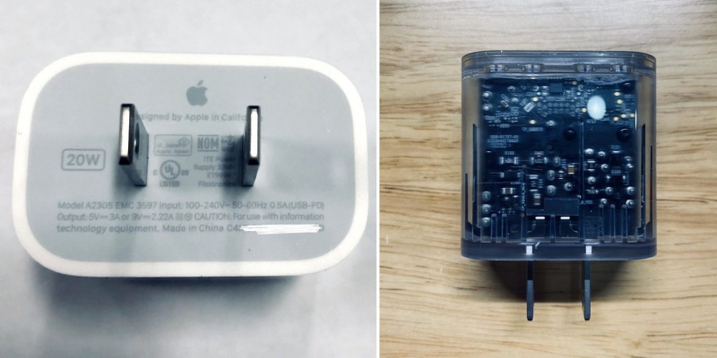 Purported 20W charger for the Apple iPhone 12. <br>Image source: @laobaiTD