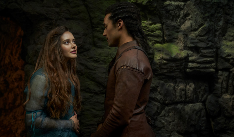 Katherine Langford (left) plays Nimue, while Devon Terrell (right) plays Arthur. | Image: Netflix