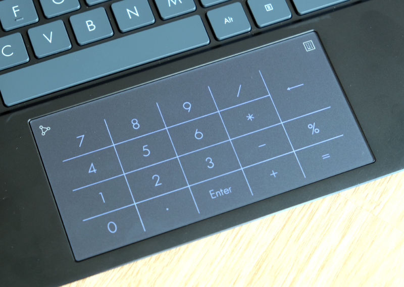 The trackpad doubles up as a virtual number pad.