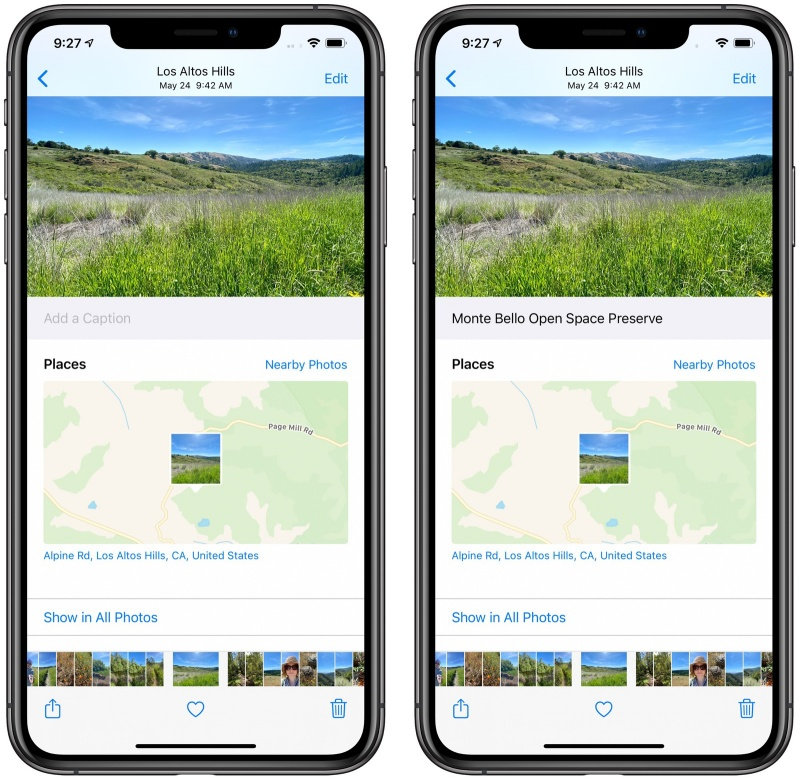 You can add captions to photos on iOS 14. <br>Image source: MacRumours