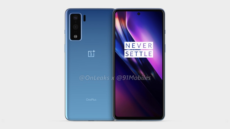 Purported render of the OnePlus 8 Lite. <br>Image source: @OnLeaks x @91Mobiles.