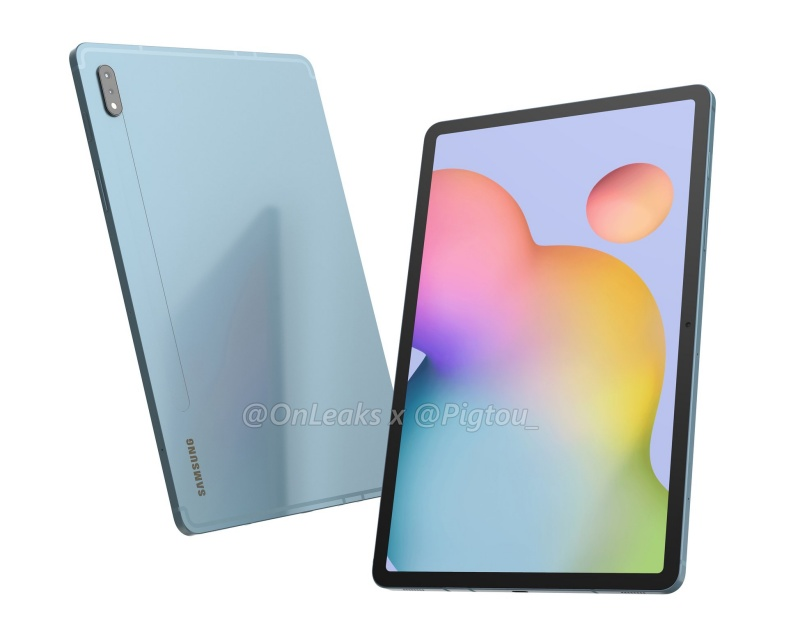 Purported render of the Samsung Galaxy Tab S7. <br>Image source: @OnLeaks + Pigtou.