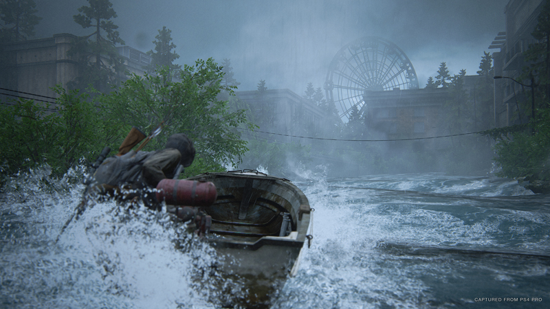You'll find a lot of ways to travel around environments in this game - including boating! Unlike Kratos however, Ellie doesn't have a magical talking head with her - so her travels are a little quieter. | Image: Sony Interactive Entertainment