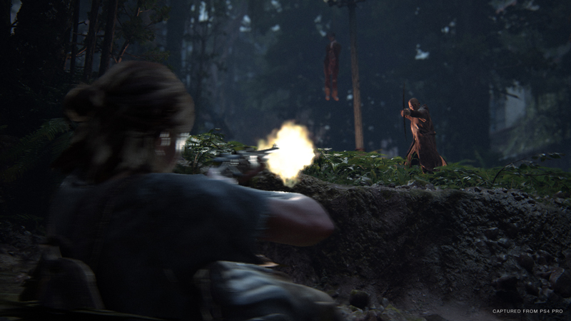 The cultists are formidable opponents. They whistle to each other to communicate, instead of speaking. They wield unique melee weapons, and fire arrows that Ellie has to snap off herself. If she doesn't, those arrows act like poison in her body - slowly doing damage over time. | Image: Sony Interactive Entertainment