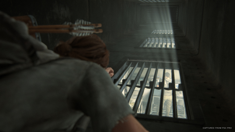 Ellie is much more nimble than Joel was in the first game, so it makes sense that exploration works differently for her. She can go prone and squeeze underneath cars and into vents, or shimmy through narrow cracks in walls.   Image: Sony Interactive Entertainment