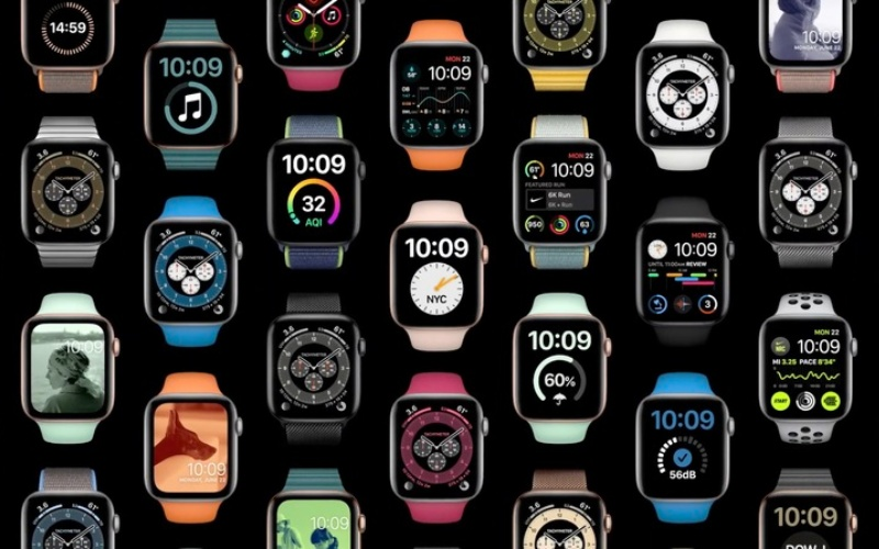 Some of the many available watch faces.