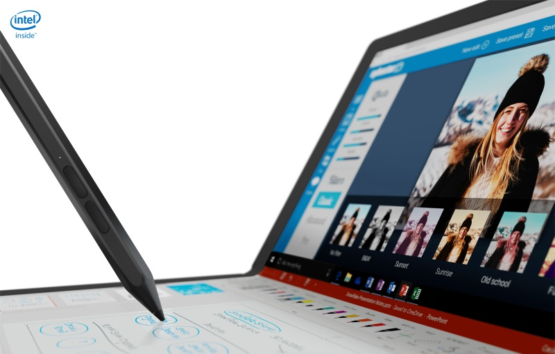 It also works with a pen accessory. Image courtesy of Lenovo.