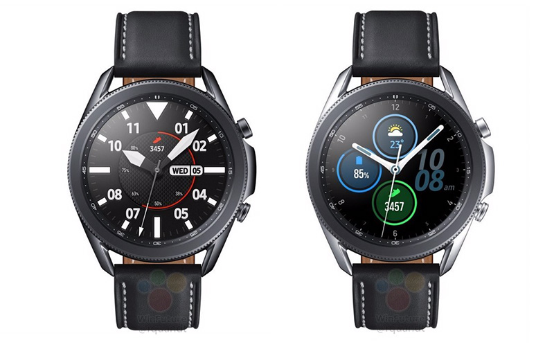 Samsung Galaxy Watch 3 45mm in titanium black and silver. (Image: WinFuture.)
