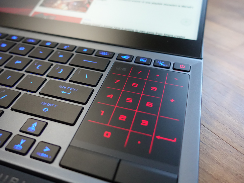 Like the ASUS ZenBook Pro Duo, the digital trackpad on the Zephyrus Duo 15 also doubles as a keypad.