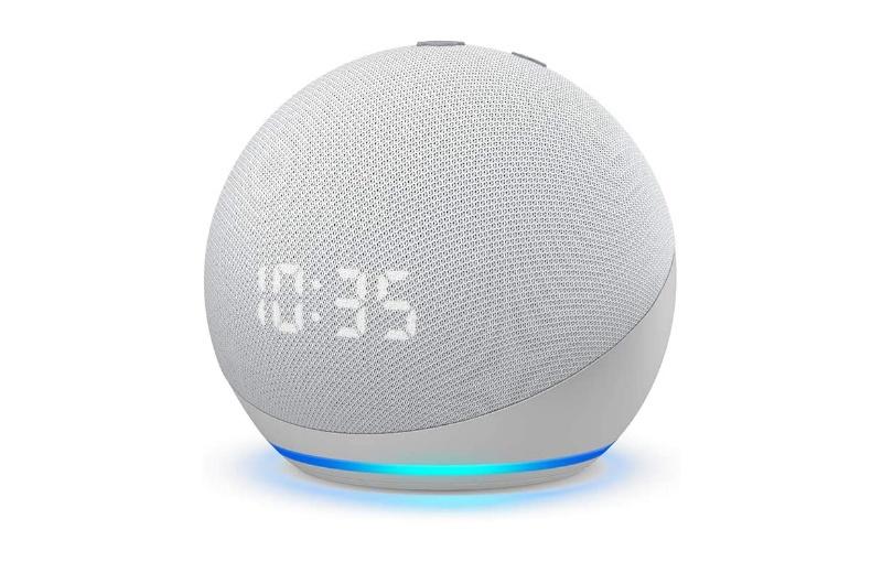 The Echo Dot Clock has an LCD screen. Image courtesy of Amazon.