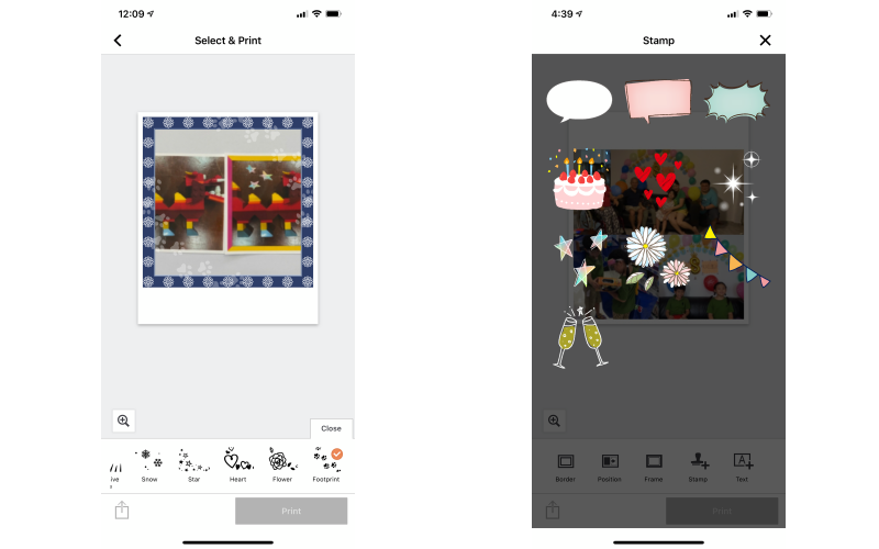 Some of the editing options available like adding frames, stamps, and borders