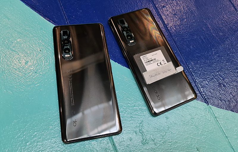 Our pair of Oppo Find X2 flagship phones - one with 5G firmware enabled, and the other still using current commercial firmware.