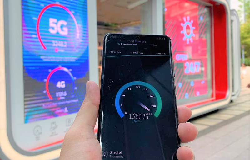 Singtel's 1Gbps+ speeds on its 5G trial network. Photo provided by Singtel.