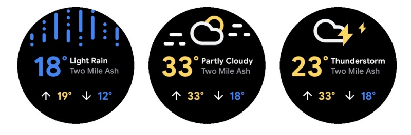 The new weather experience on Wear OS.<br>Image source: Google.