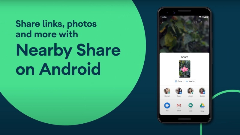 """Screenshot taken from Android's YouTube video on """"Share links, photos and more with Nearby Share on Android""""."""