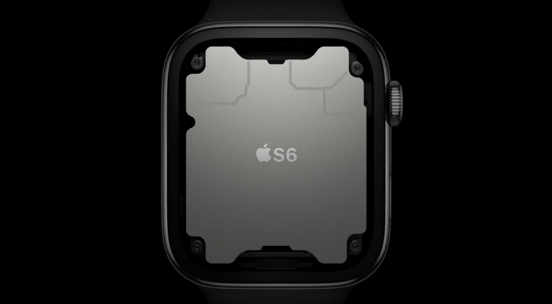 Series 6 is powered by the new S6 chip that's based on the A13 Bionic chip.