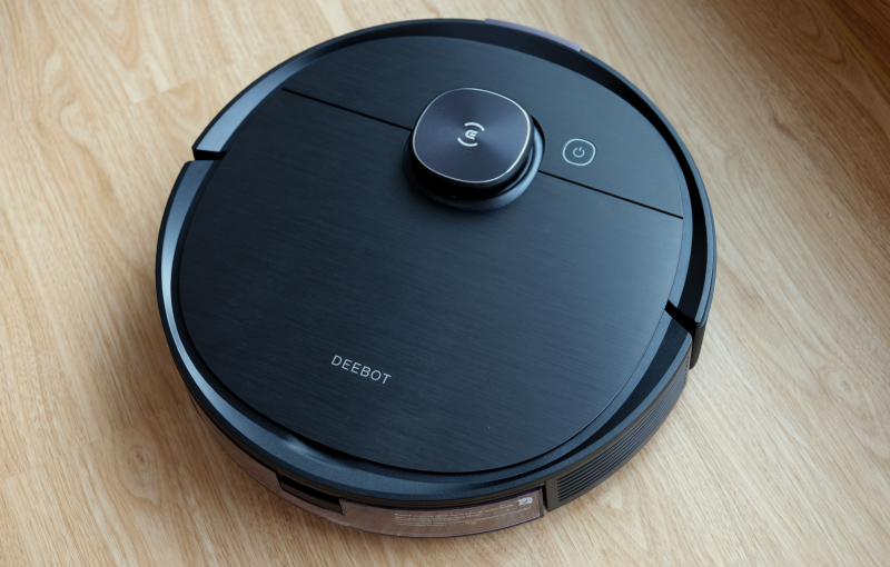 This is the Ecovacs Deebot Ozmo T8 AIVI. Note the lidar sensor that protrudes from the top.
