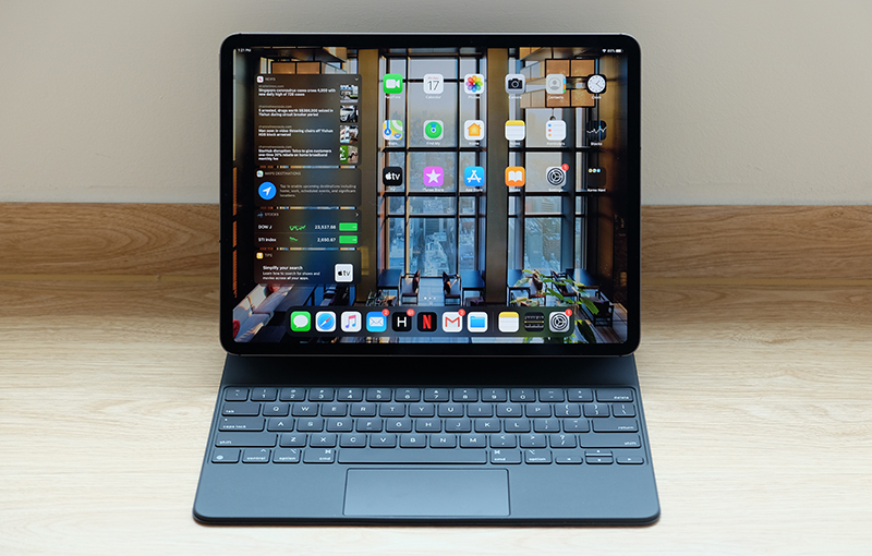 The Apple iPad Pro 2020 with the Magic Keyboard.