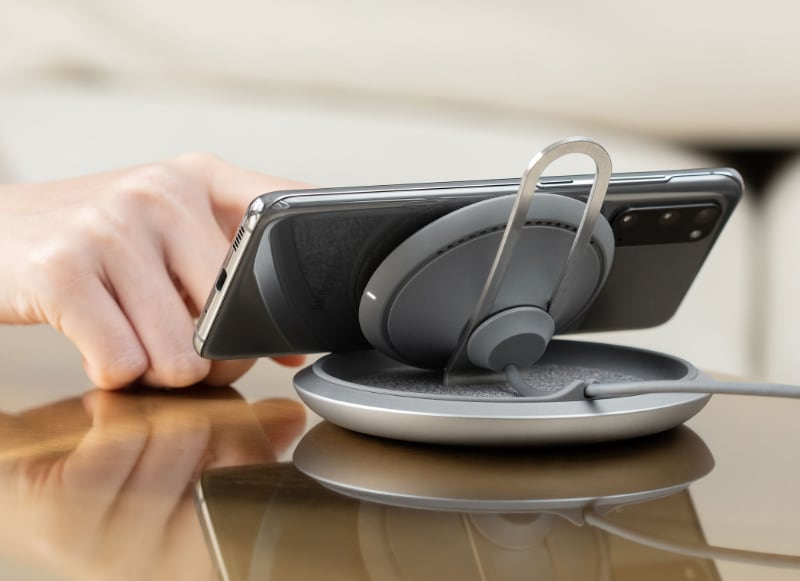 The Lounge Q works with iPhones and Android phones. (Image source: Moshi)