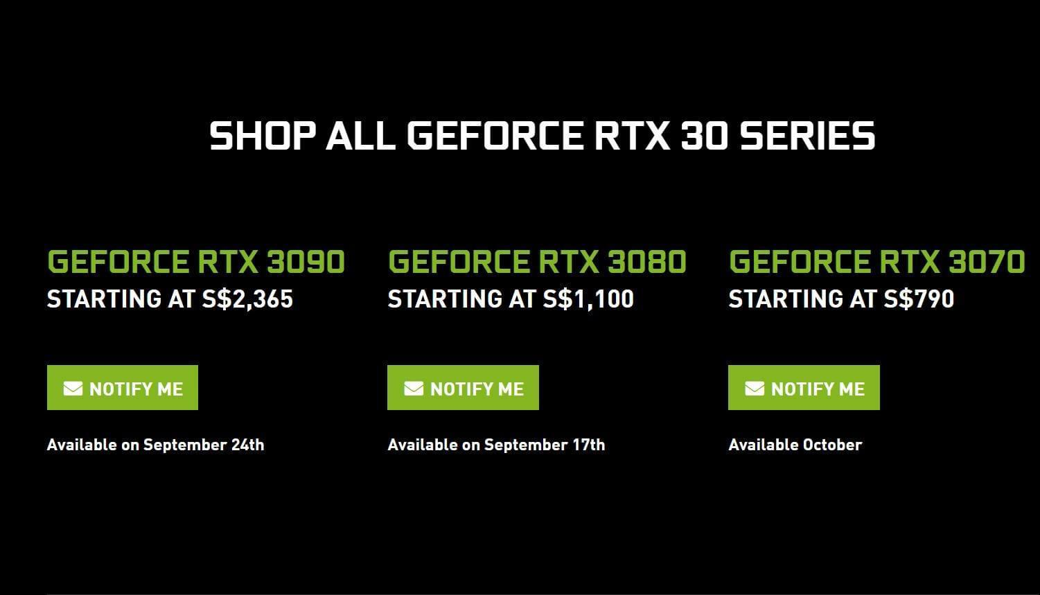Estimated local pricing (Source: NVIDIA Singapore)