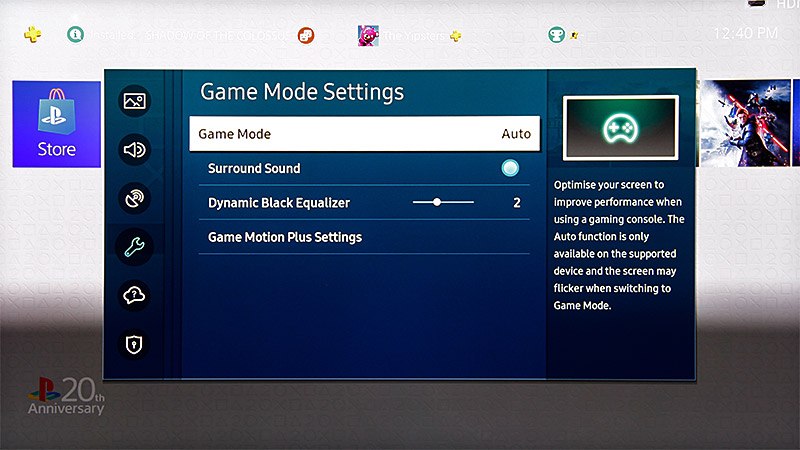 With a compatible console, Game mode will be automatically activated.