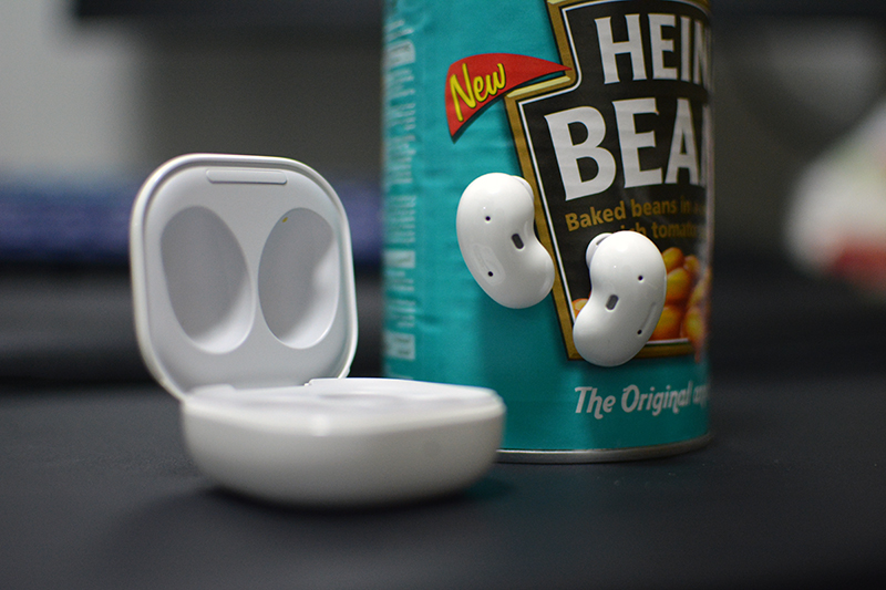 The Galaxy Buds Live is attracted to a can of beans as I am at Sunday brunch.