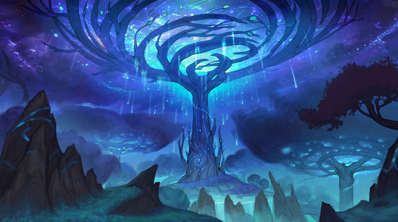 """""""An early concept for the approach to the Winter Queen's Court, beyond which only her most trusted subjects would gain entrance. At the base of this massive, magical tree, we wanted to suggest architectural features like windows and columns that swirled up into the natural rhythms of the bark and branches."""" - Senior concept artist Matt O'Connor 