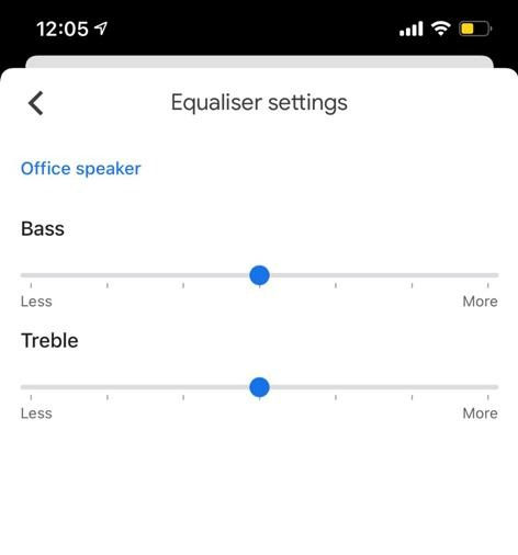 You get basic equalizer control on the Google Home app.