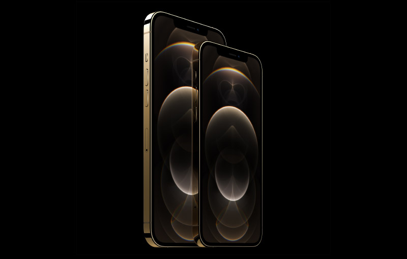 The iPhone 12 Pro and iPhone 12 Pro Max in gold.