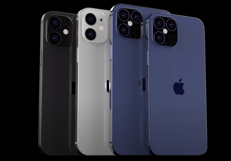 "Purported renders of the Apple iPhone 12 lineup. <br> Screenshot taken from EverythingApplePro's YouTube video on ""Exclusive iPhone 12 Pro Max Design Leaks! It's HUGE."""