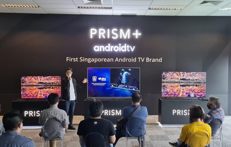 Prism+ Managing Director Jon Ng briefing the media on the Dolby and DTS sound on the new TVs.