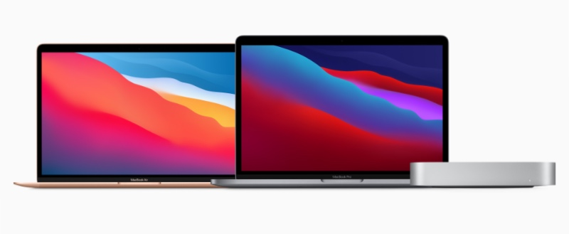 Here are the three new Macs that feature the new M1 chip. From left to right: MacBook Air, 13-inch MacBook Pro, and Mac Mini. (Image source: Apple)