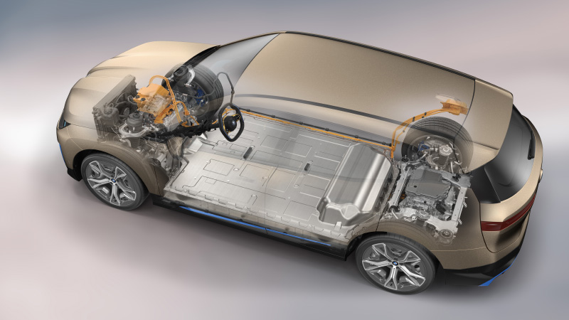 The iX has two electric motors producing 500hp. (Image source: BMW)
