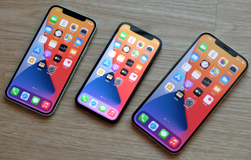 From left to right: iPhone 12, iPhone 12 Mini, and iPhone 12 Pro Max.