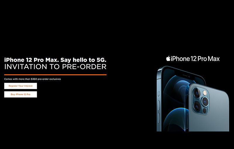 M1's invitation to pre-order the iPhone 12 Pro Max, as seen at its website.