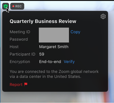 Participants can click here to report other disruptive participants during a meeting. Image courtesy of Zoom.