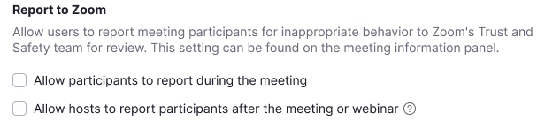 Disruptive participants can now be reported to Zoom and removed from a meeting. Image courtesy of Zoom.