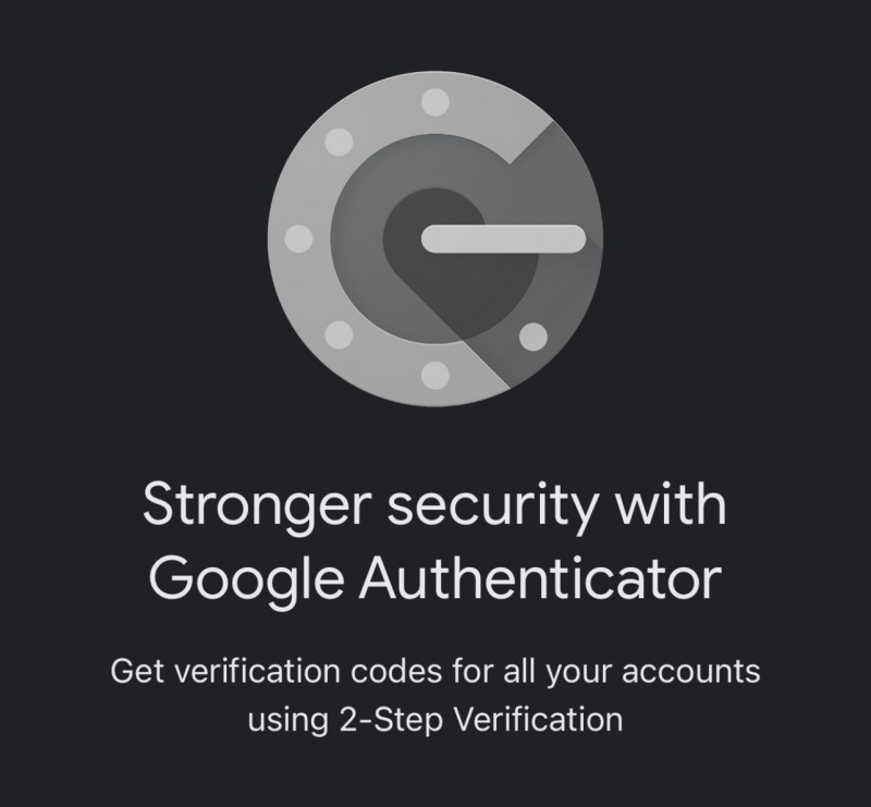 Google Authenticator with copy about getting 2FA codes for all accounts